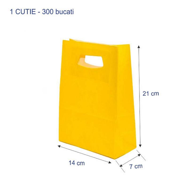 Punga colorata GALBEN hartie kraft, 14+7x21 cm 300 buc.