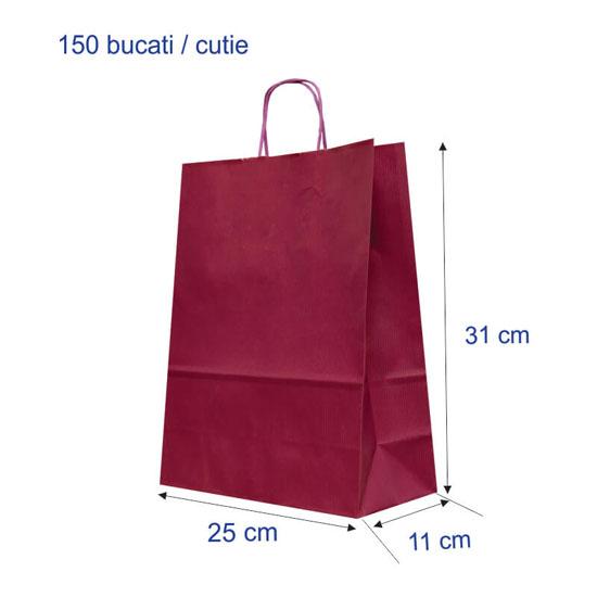Punga colorata PURPLE hartie kraft 90g/mp2, 25+11x31 cm, 150 buc. / cutie