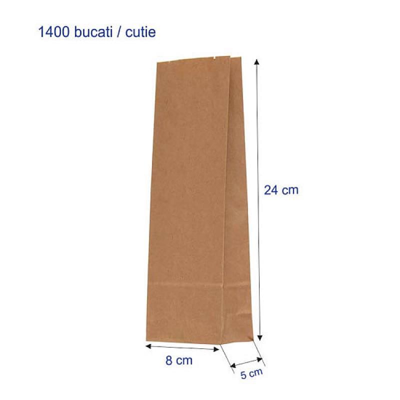 Punga 500 G, 8 + 5 X 24 cm, Hartie Kraft Natur, 1400 Bucati/Cutie