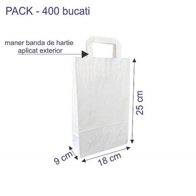 18 + 9 x 25 cm Punga hartie kraft alb maner banda, 400 buc.