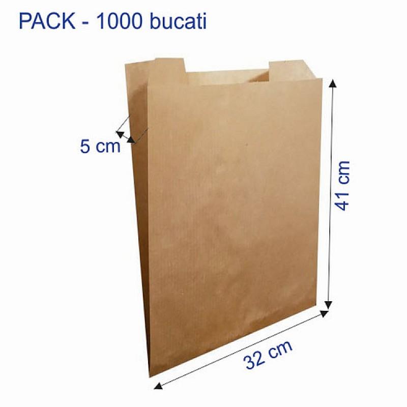32 + 5 x 41 cm, Punga Hartie Kraft Natur PAINE ROTUNDA  1000 Bucati/Cutie
