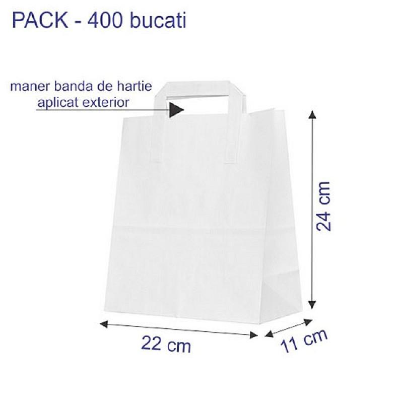 22 + 11 x 24 cm Punga hartie kraft alb maner banda, 400 buc.
