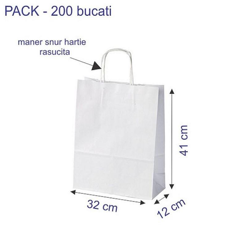 32 + 12 x 41 cm Punga hartie kraft alb maner snur, 200 buc