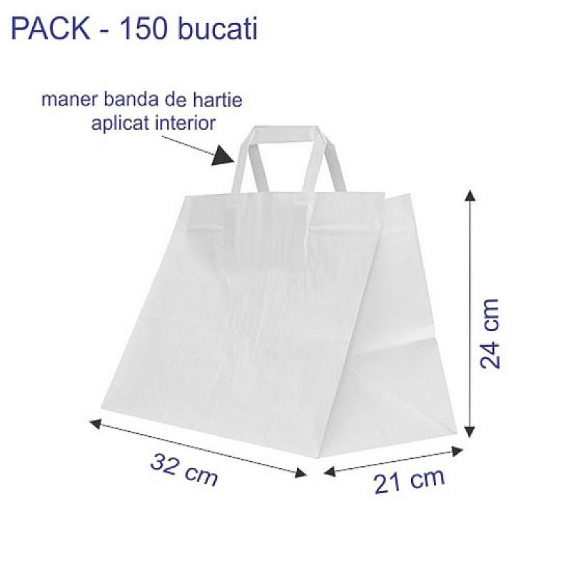 32 + 21 x 24 cm Punga Catering hartie kraft alb maner banda, 150 buc.